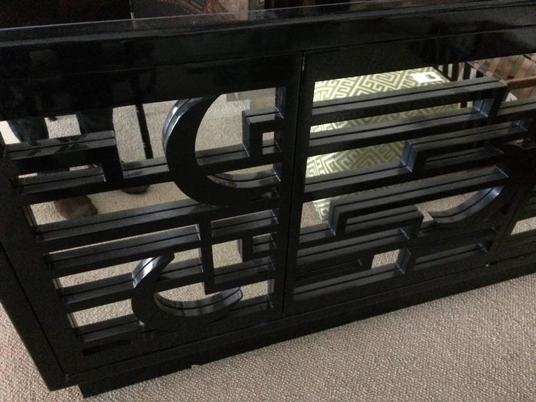 Dark Wood Mirrored Credenza : Very impressive large black lacquer and mirrored sideboard credenza