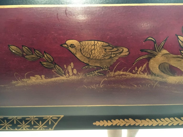 Wood Elegant Chinoiserie Style Hand-Painted Mirror For Sale