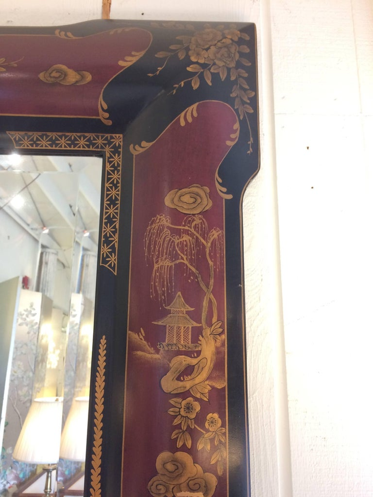 Elegant Chinoiserie Style Hand-Painted Mirror In Excellent Condition For Sale In Hopewell, NJ