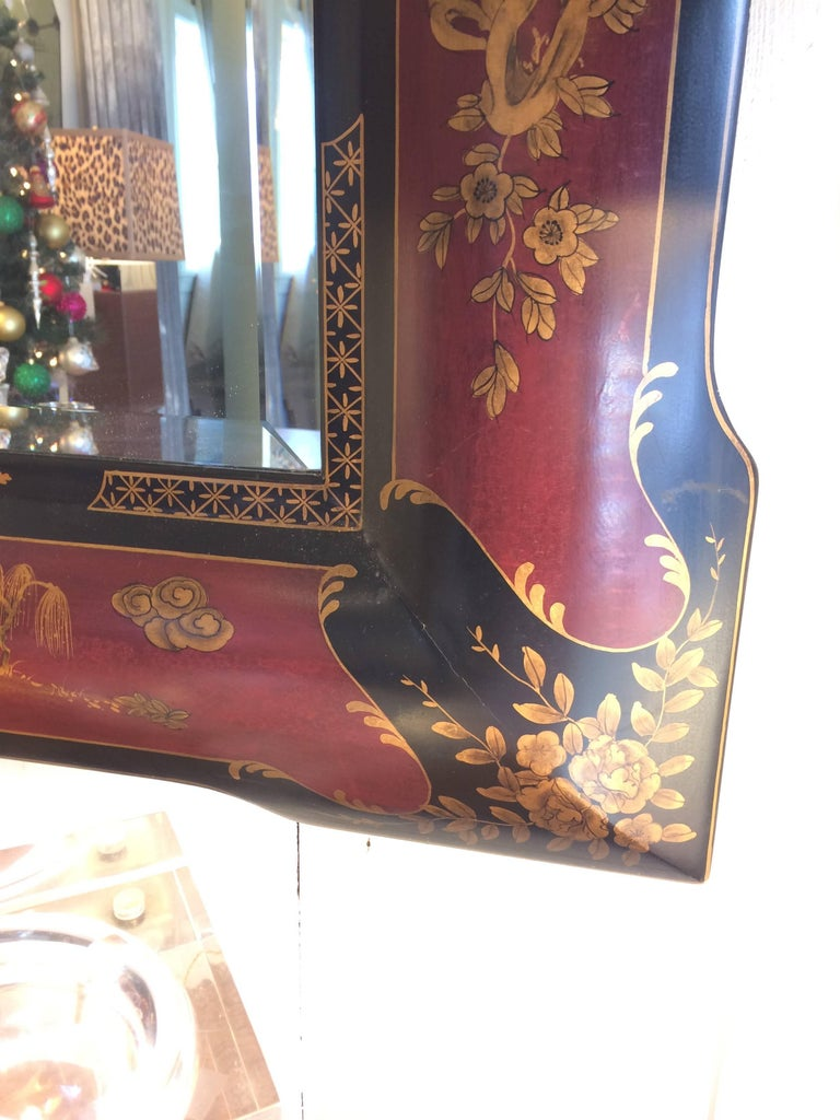 Late 20th Century Elegant Chinoiserie Style Hand-Painted Mirror For Sale