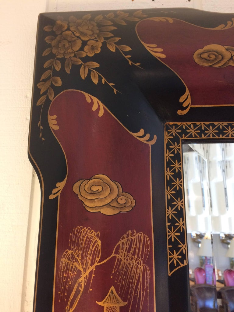 American Elegant Chinoiserie Style Hand-Painted Mirror For Sale