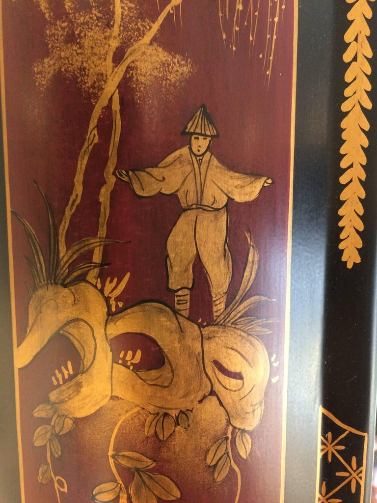 Elegant Chinoiserie Style Hand-Painted Mirror For Sale 3