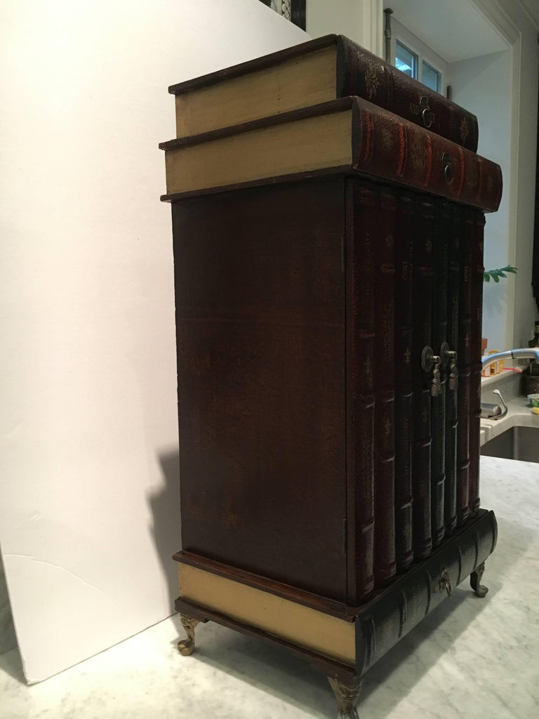 Whimsical Stack Of Books Motif Side Cabinet Table At 1stdibs