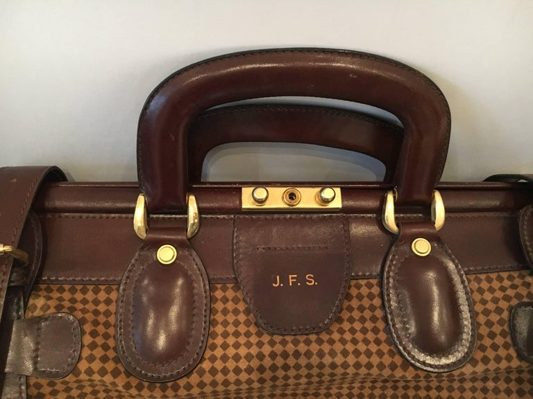 f6c8b606ad Italian Mint Condition Vintage Houndstooth and Leather Bottega Veneta  Weekend Bag For Sale