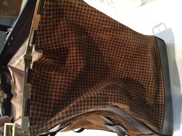 1678a77bcc Mint Condition Vintage Houndstooth and Leather Bottega Veneta Weekend Bag  For Sale 4