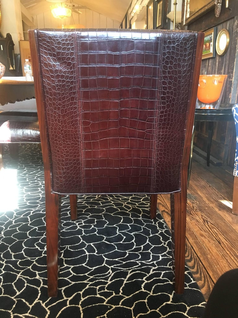 Set Of Six Rich Ralph Lauren Crocodile Embossed Leather Dining