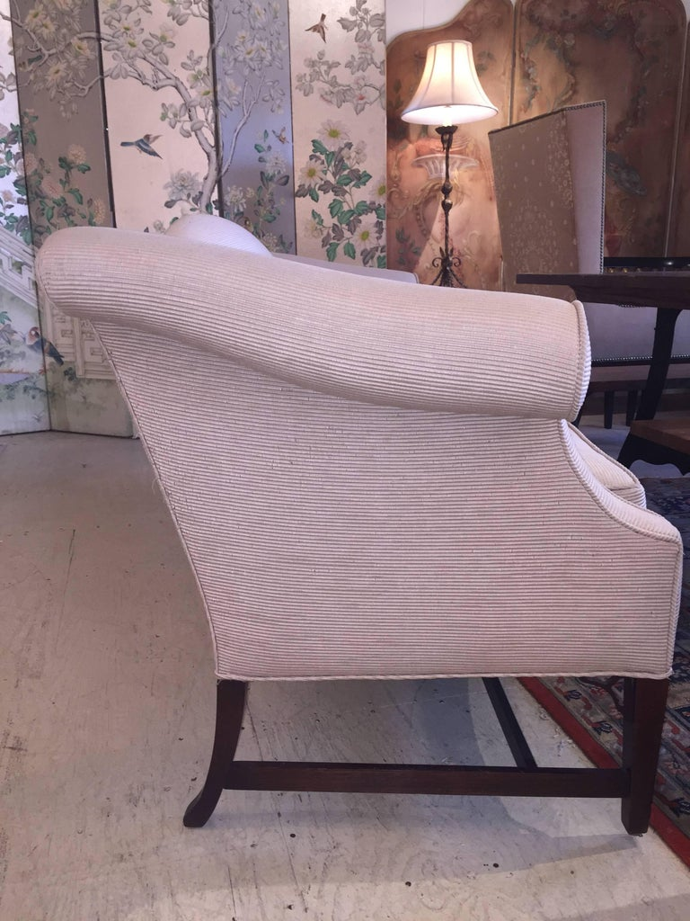Sophisticated Tailored Camel Back Sofa In Good Condition For Sale In Hopewell, NJ