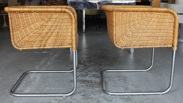 rattan chinese hat pair of wicker and chrome chairs distributed by harvey probber at