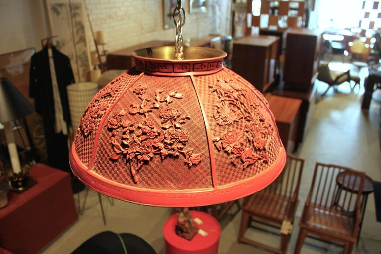 Vintage Faux Chinese Cinnabar Pendant Light In Good Condition For Sale In Hudson, NY