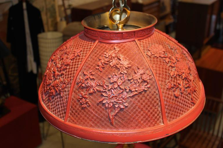 Mid-Century Modern Vintage Faux Chinese Cinnabar Pendant Light For Sale