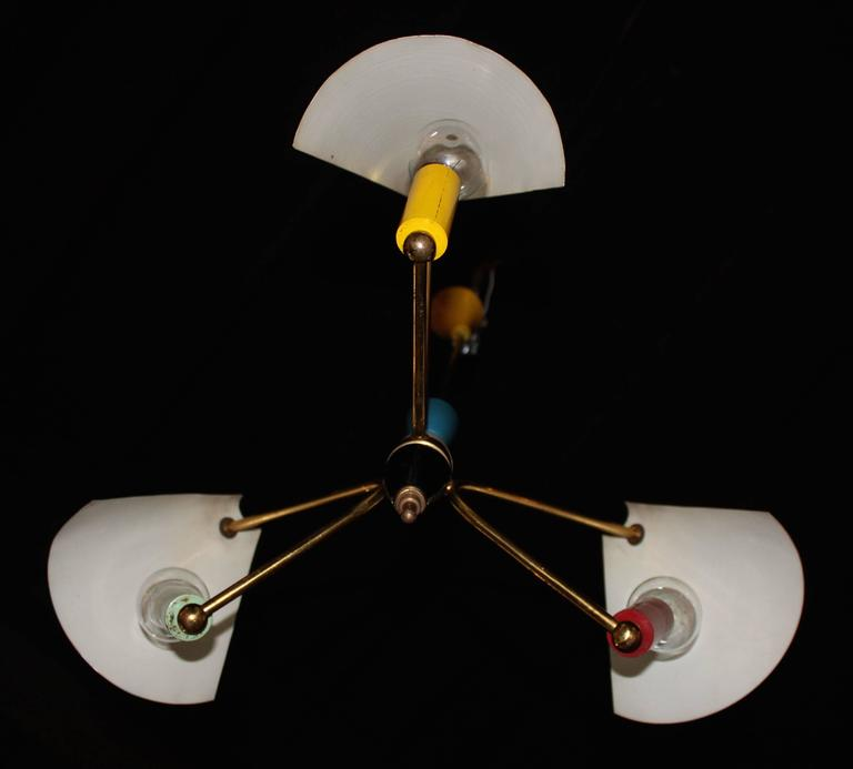 Mid-Century Modern Brass Italian Chandelier 10