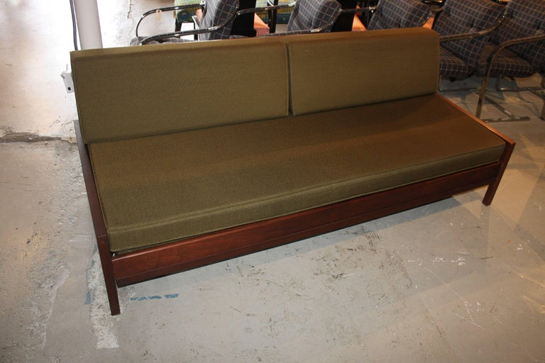 "Mid-Century Modern daybed sofa with trundle. Comes with the original cushions at buyer's request. It is in very good shape. Solid walnut frame and simple modern design. Perfect for the space limited room or apartment. Measure: Seat height 15.75""."
