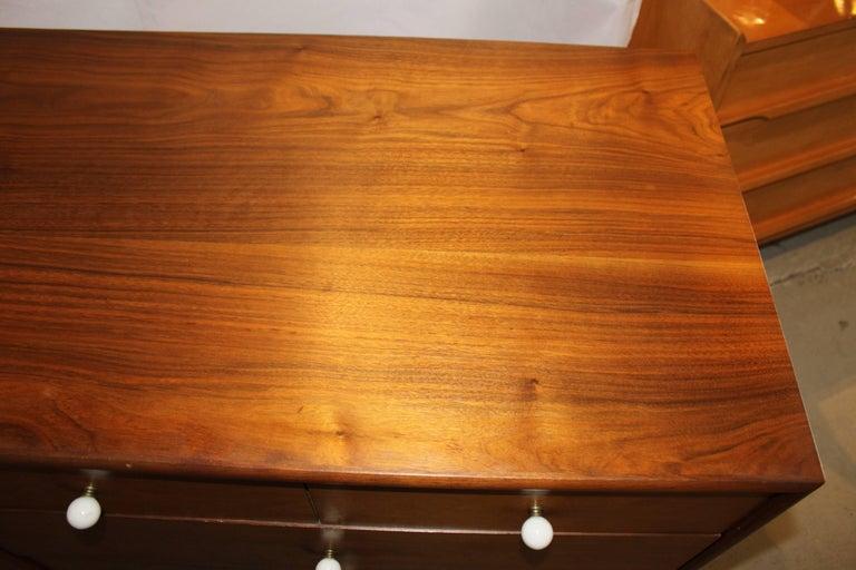 Porcelain Kipp Stewart Walnut Eight-Drawer Dresser For Sale