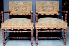 "Pair of French 18thC. Louis XIII ""Chaires a Bras"""