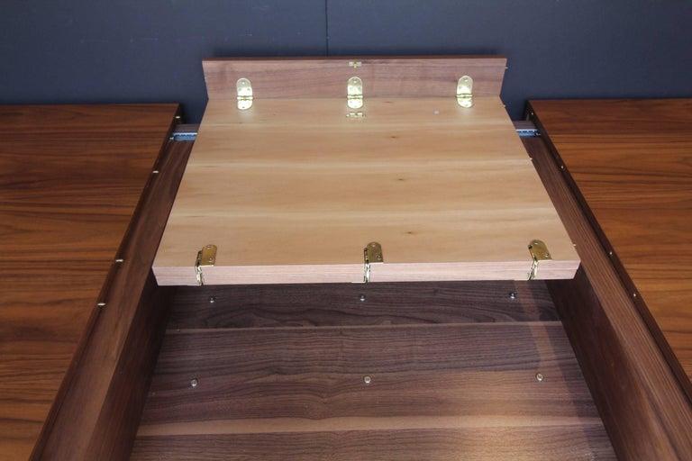 Chrome Italian Contemporary Walnut Extendable Dining Table For Sale