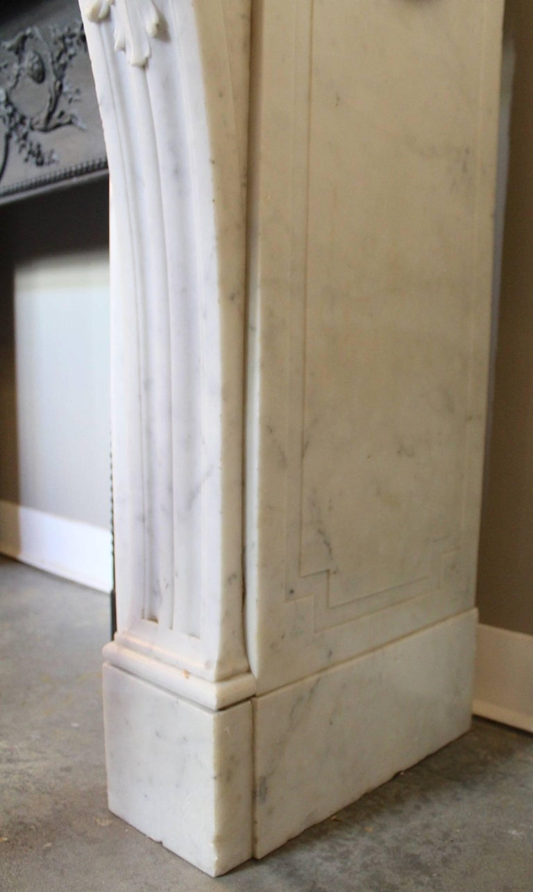 19th Century French Louis XVI Style Carrara Marble Mantel In Excellent Condition For Sale In Charleston, SC