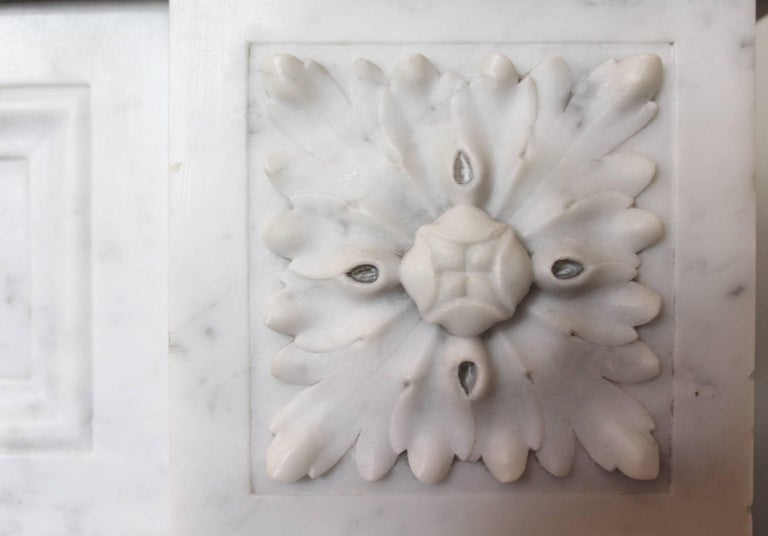 Bronze 19th Century French Louis XVI Style Carrara Marble Mantel For Sale