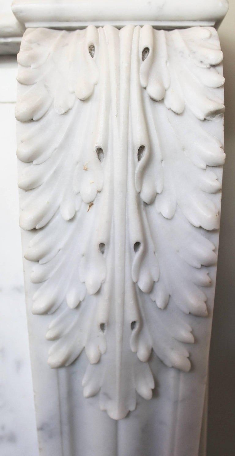 19th Century French Louis XVI Style Carrara Marble Mantel For Sale 1