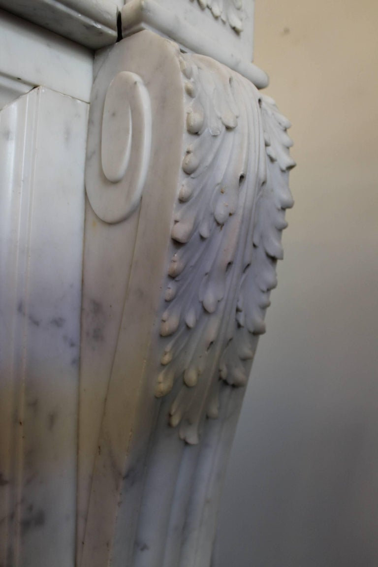 19th Century French Louis XVI Style Carrara Marble Mantel For Sale 2