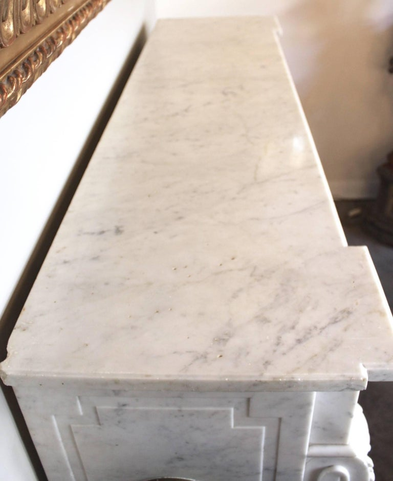 19th Century French Louis XVI Style Carrara Marble Mantel For Sale 5