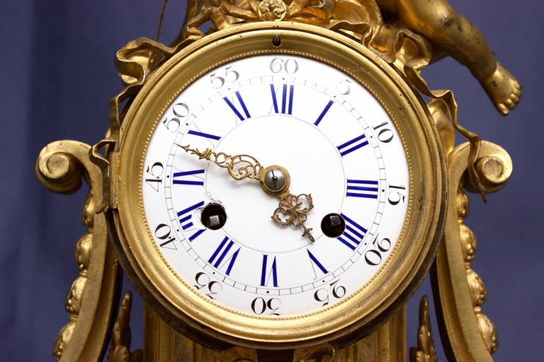 French Louis XVI Figural Clock in Chased and Gilt Bronze For Sale 2