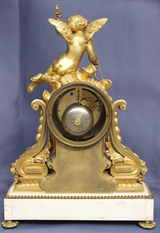 French Louis XVI Figural Clock in Chased and Gilt Bronze In Excellent Condition For Sale In Charleston, SC