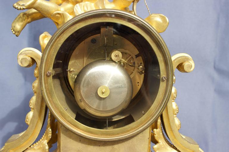 French Louis XVI Figural Clock in Chased and Gilt Bronze For Sale 5