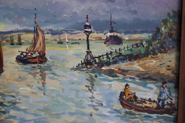 Robert L. P. Lavoine is a French artist (1916-1999) who exercised mostly on Normandie and Brittany shores. This oil work represents the entrance of the harbour of Honfleur. A Normandie city on the ocean since the 11th century. It is known for its