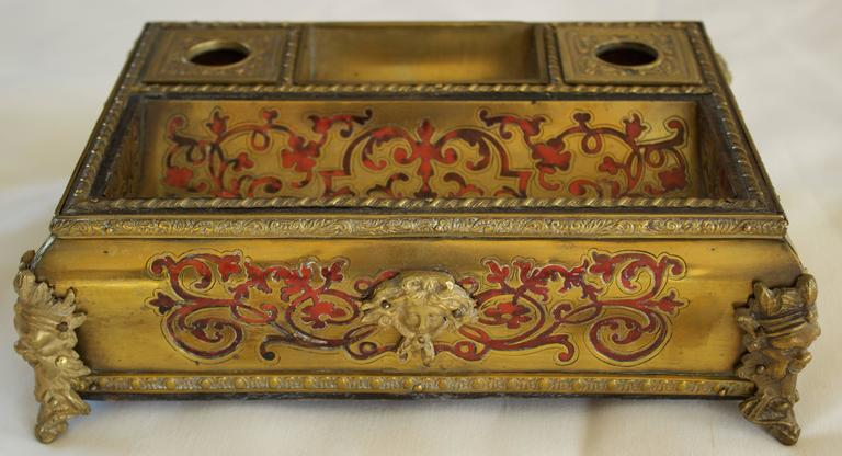 Cast Napoleon III Period Boulle Inkwell with Tortoise Shell Inlay For Sale