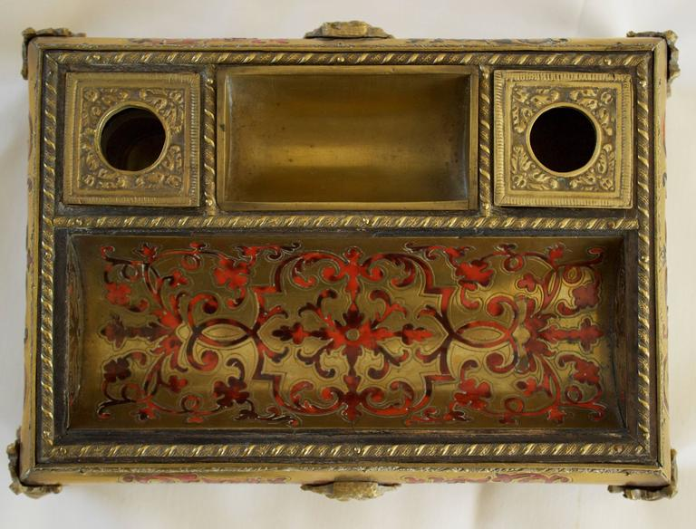 Mid-19th Century Napoleon III Period Boulle Inkwell with Tortoise Shell Inlay For Sale