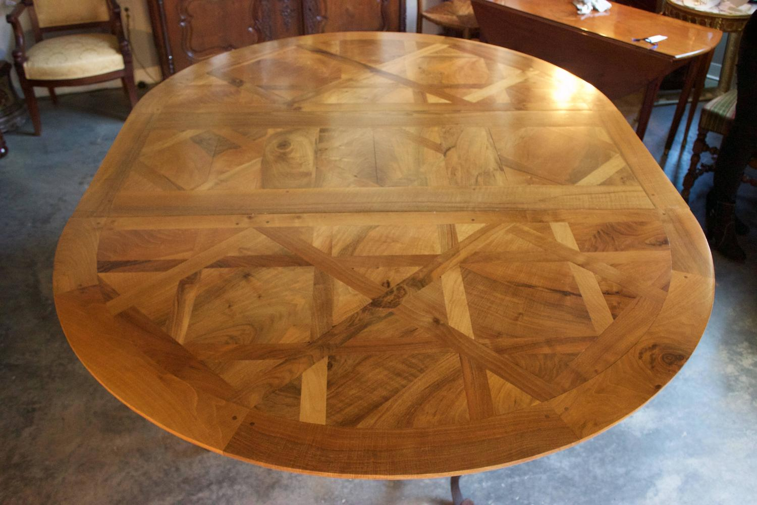 French Walnut Parquet Top Oval Or Round Dining Table For