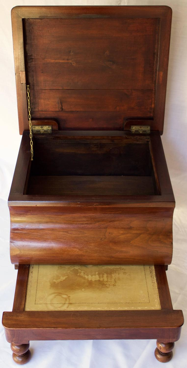 Bed Step Stool: 19th Century Bedside Commode With Retractable Wooden Step