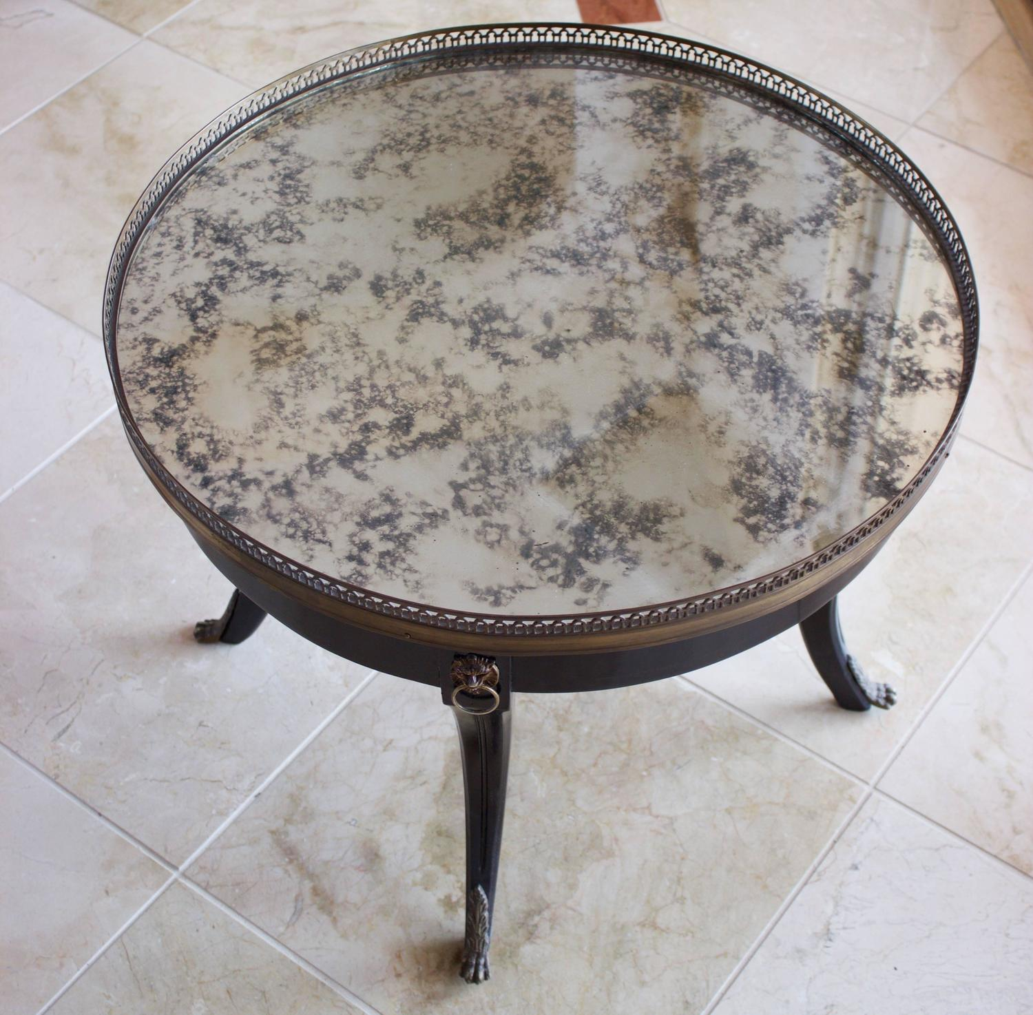 French Ebonized Round Occasional Or Coffee Table With
