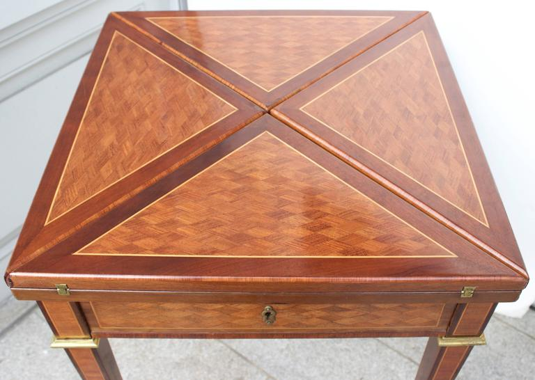 Inlay 19th Century French Mahogany Handkerchief Card Table For Sale