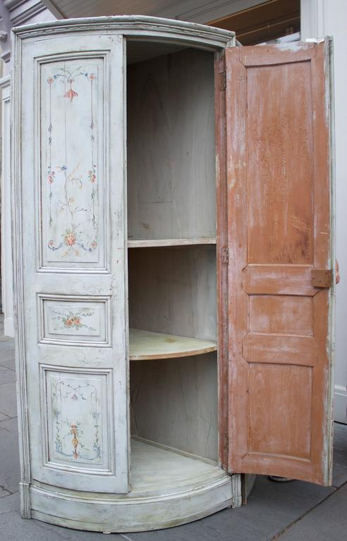 Restauration 19th Century French Painted Corner Cabinet For Sale
