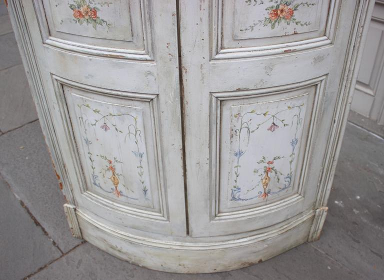 Wood 19th Century French Painted Corner Cabinet For Sale