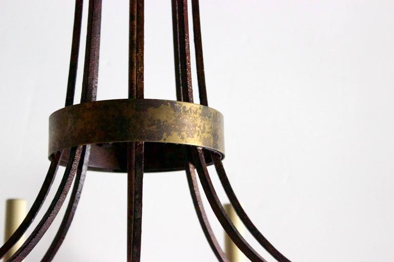 Pair of English Wrought Iron and Bronze Eight-Light Chandelier In Good Condition For Sale In Charleston, SC