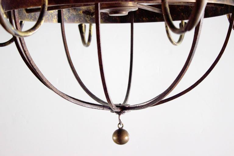 Early 20th Century Pair of English Wrought Iron and Bronze Eight-Light Chandelier For Sale