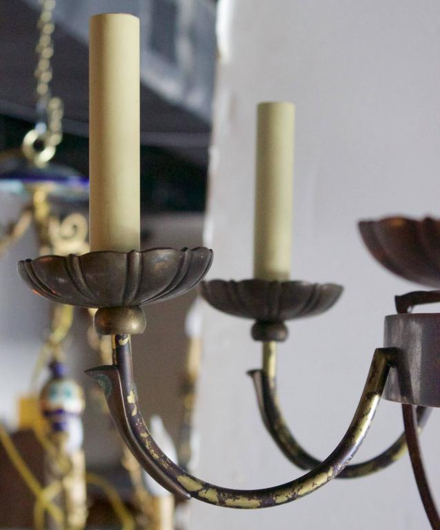 Pair of English Wrought Iron and Bronze Eight-Light Chandelier For Sale 2