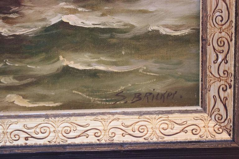 Original signed 19th century Dutch oil painting signed by S. Bricker. Three sailing vessels. Framed nicely in a silver gilt and ebonized carved frame.