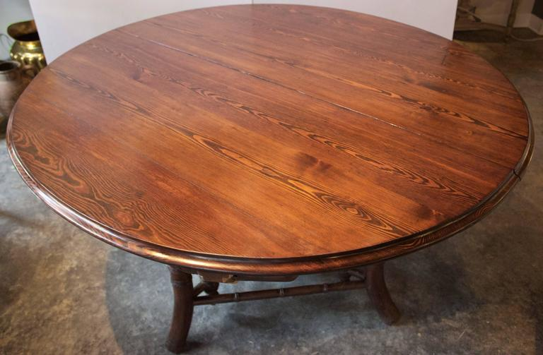 19th Century French Near Round Table with Bamboo Style Feet 2