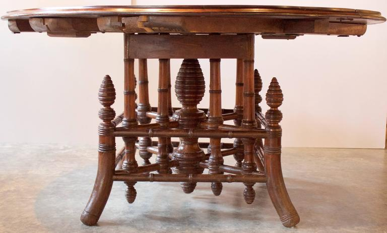 19th Century French Near Round Table with Bamboo Style Feet 4