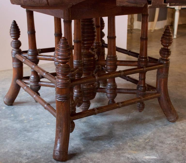 19th Century French Near Round Table with Bamboo Style Feet 5