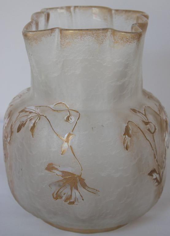 Glass Vase by Francois-Theodore T. Legras Signed Saint Denis 2