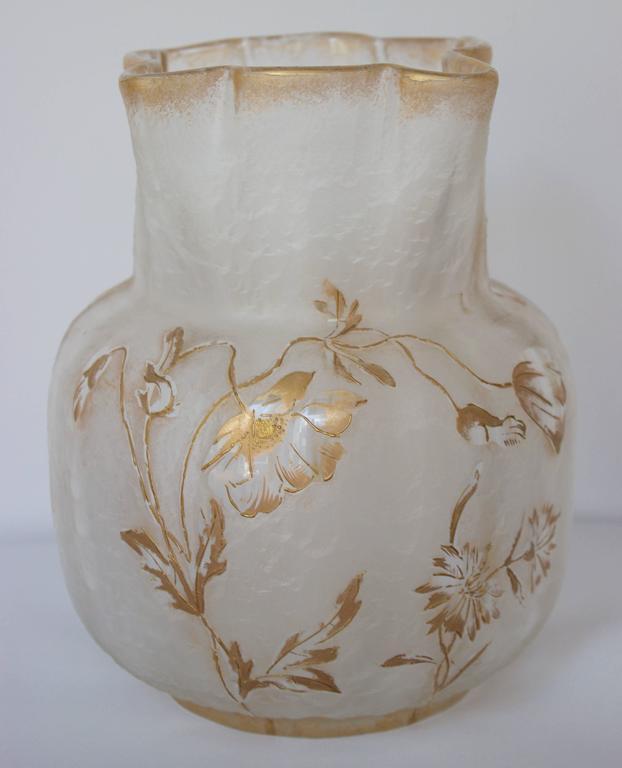 Glass Vase by Francois-Theodore T. Legras Signed Saint Denis 4