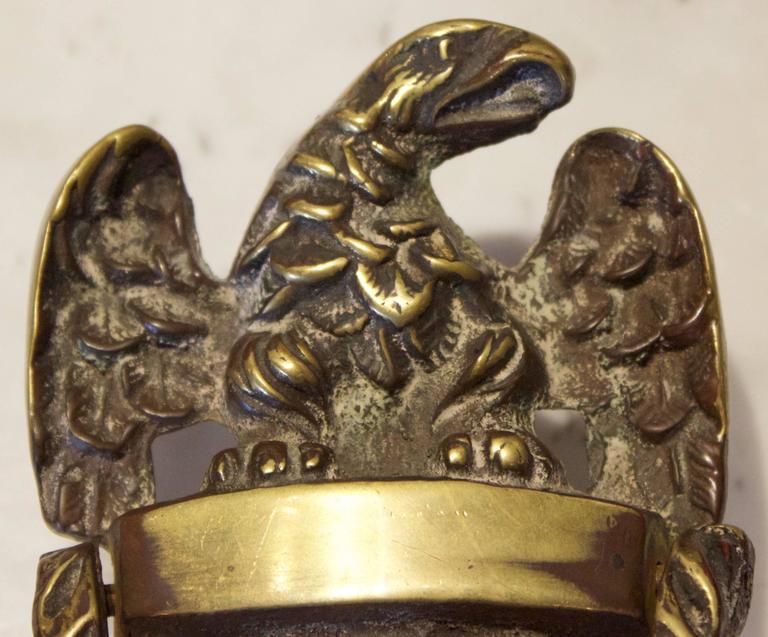 American Federal Eagle Door Knocker In Brass, Circa 1890.