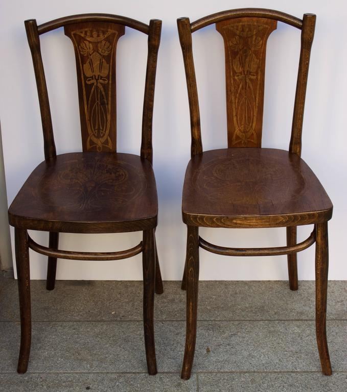 Pair Of Beech Bentwood Side Or Bistro Chairs With Art Nouveau Decor In Deep  Rich Color