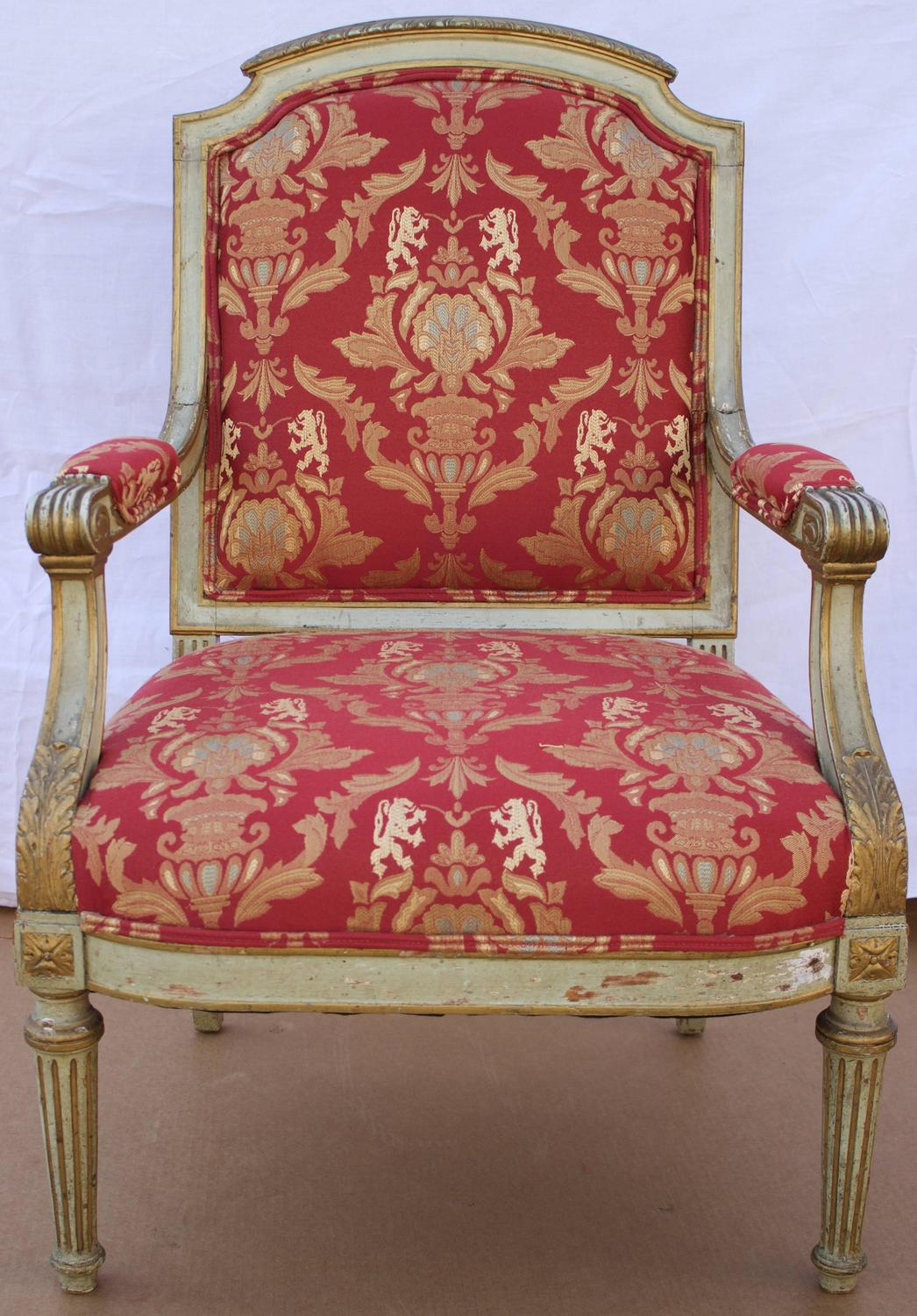 19th century french louis xvi style fauteuil for sale at 1stdibs. Black Bedroom Furniture Sets. Home Design Ideas