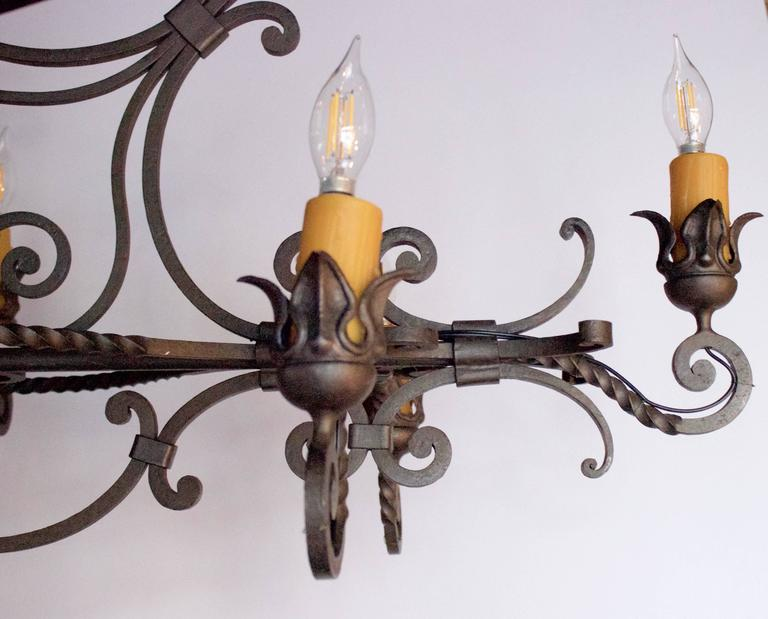 French Wrought Iron Eight-Arm Chandelier 4