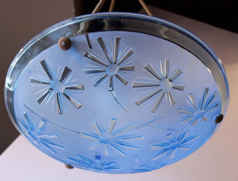 French Art Deco Blue Glass Pendant Fixture In Good Condition For Sale In Charleston, SC